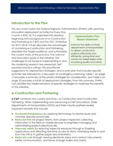 e construction partnering implementation plan