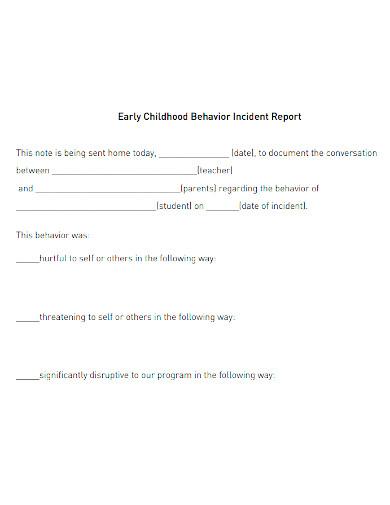 early childhood behavior incident report