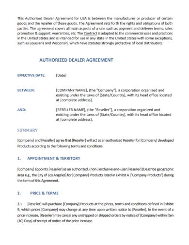 editable authorized dealer agreement