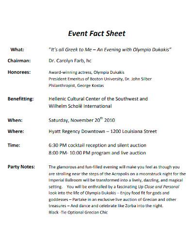 editable event fact sheet