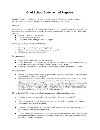 editable grad school statement of purpose