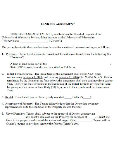 editable land use agreement