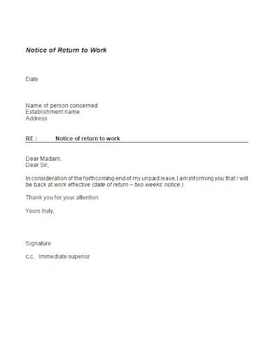 editable notice of return to work