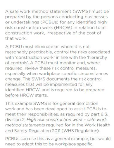 editable safe work method statement