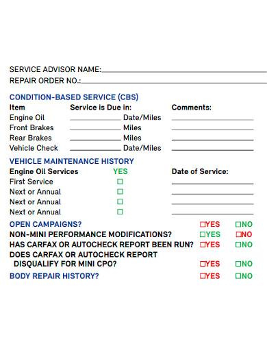 editable vehicle service inspection checklist