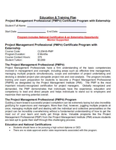 education management project training plan