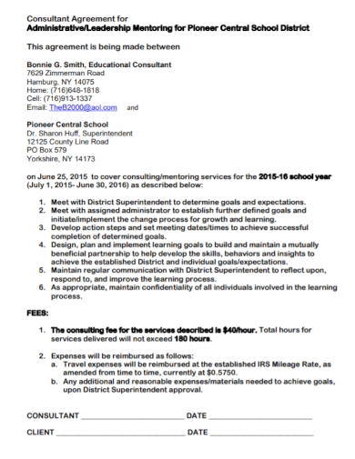 educational administartive consultant agreement