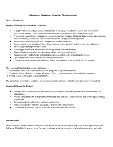 educational consultant client agreement