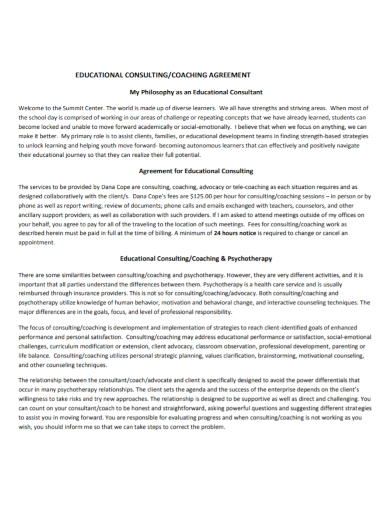 educational consultant coaching agreement