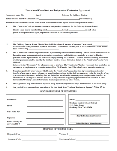educational consultant contractor agreement