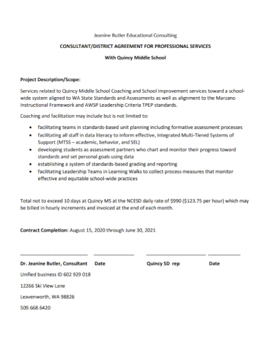 educational consultant professional agreement