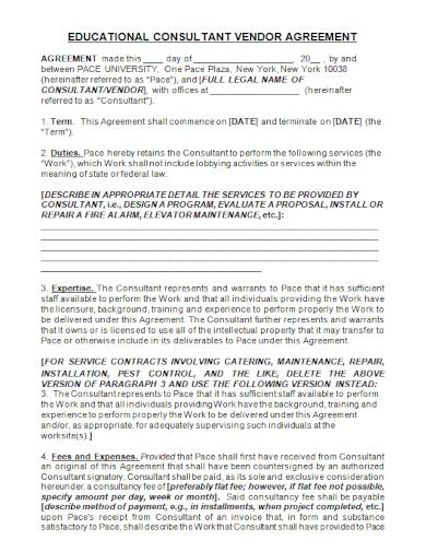 educational consultant vendor agreement