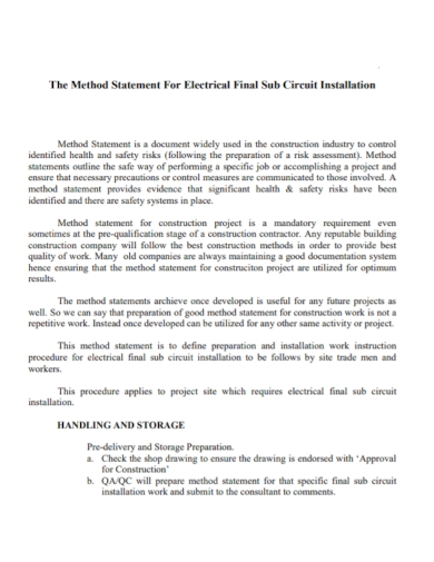 electrical circuit installation method statement