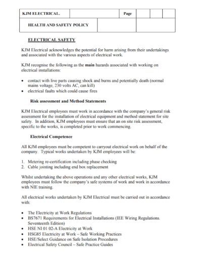 electrical health and safety policy method statement