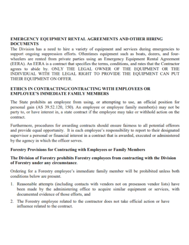 emergency equipment hire and rental agreement
