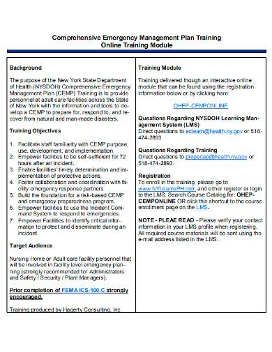 emergency training management plan