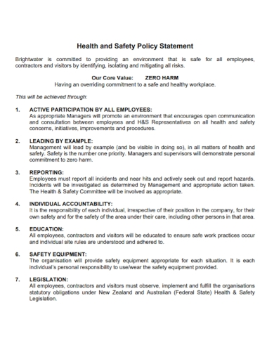 employee health and safety policy statement