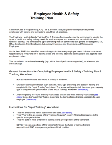 employee health and safety training plan