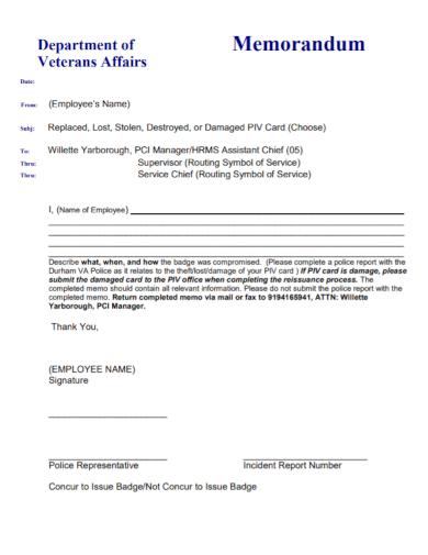 employee memorandum incident report