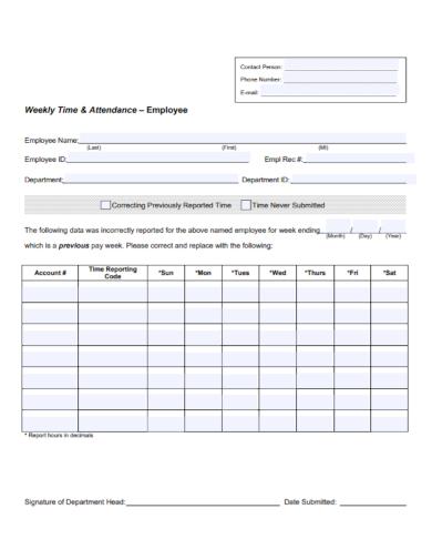 employee weekly attendance report