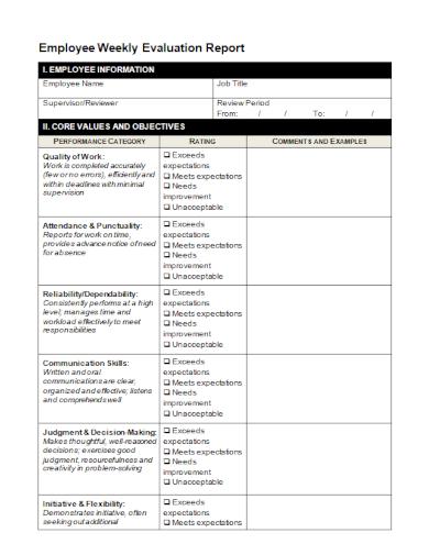 employee weekly evaluation report