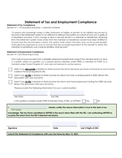 employment tax compliance statement