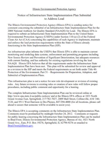 environmental agency implementation plan
