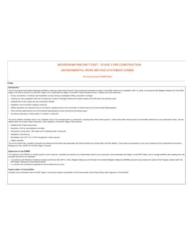 environmental work method statement