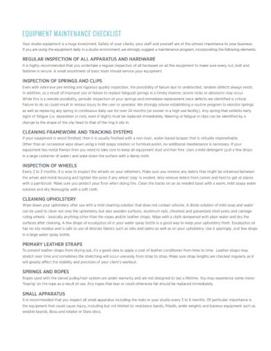 equipment inspection maintenance checklist