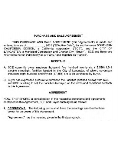 equipment purchase and sale agreement