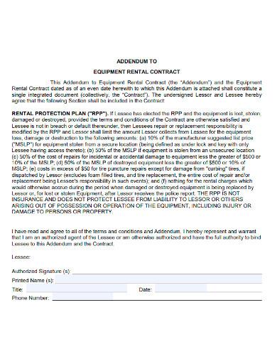 equipment rental contract addendum