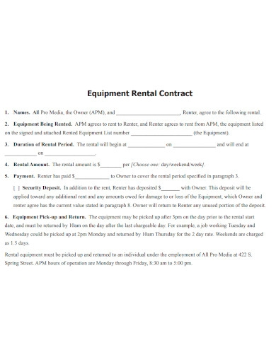 equipment rental contract sample