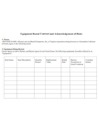 equipment rental contract and acknowledgement