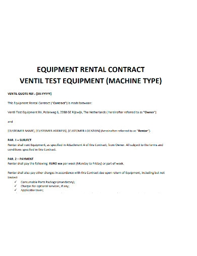equipment rental payment contract
