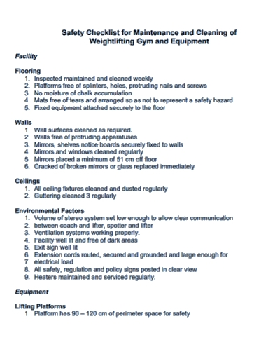 equipment safety maintenance checklist