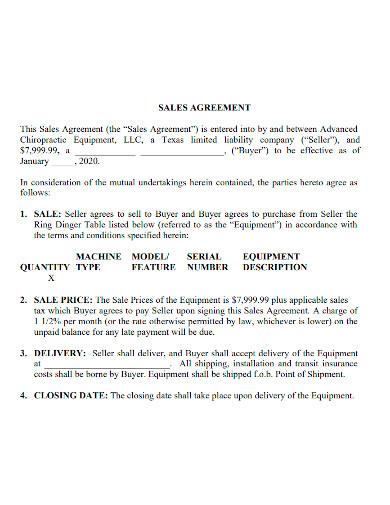 equipment sale agreement format