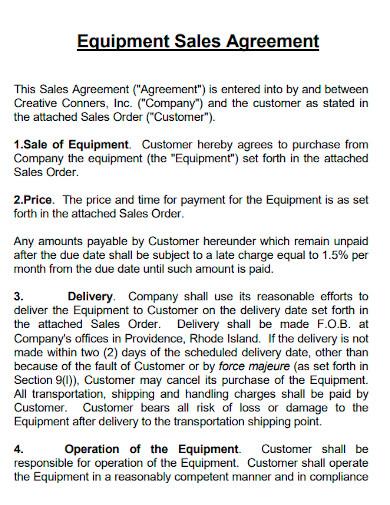 equipment sale agreement sample
