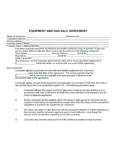 equipment and gas sale agreement