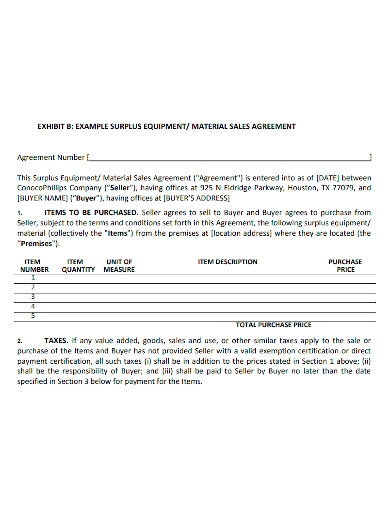equipment or material sale agreement