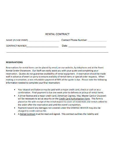 event equipment rental contract