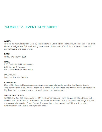 event fact sheet sample