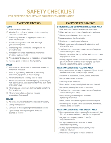 facility maintenance safety checklist
