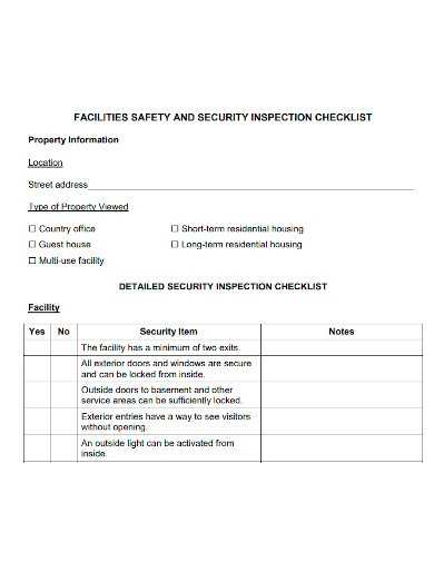 facility safety and security inspection checklist