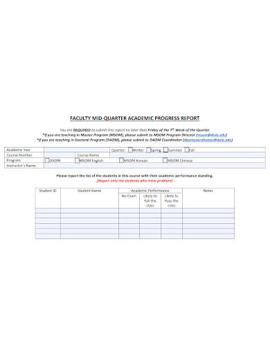 faculty academic progress report