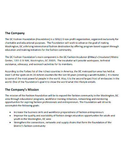 fashion foundation business plan
