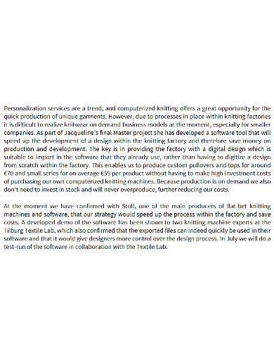 fashion project business plan