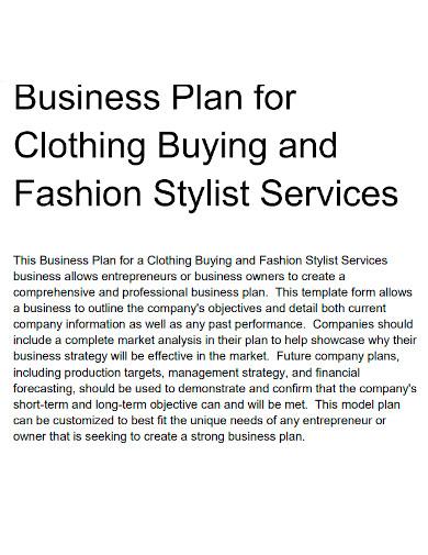 fashion services business plan