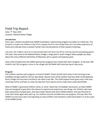 field trip program report