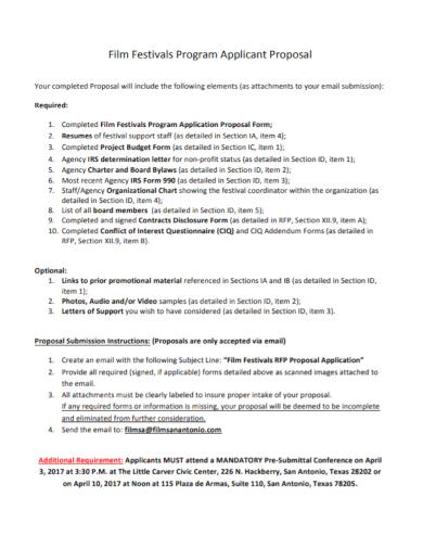 film festival program proposal