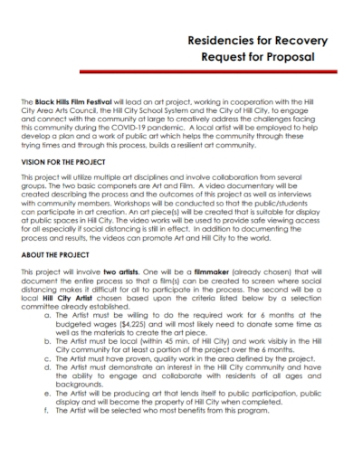 film festival recovery request for proposal